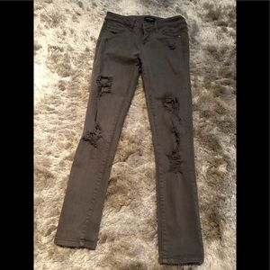 Army green distressed jeans